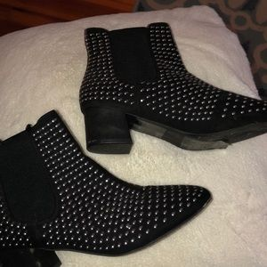 Studded black ankle booties